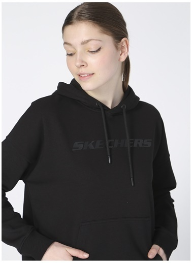 Skechers Skechers Kadın Düz Siyah Sweatshirt Siyah